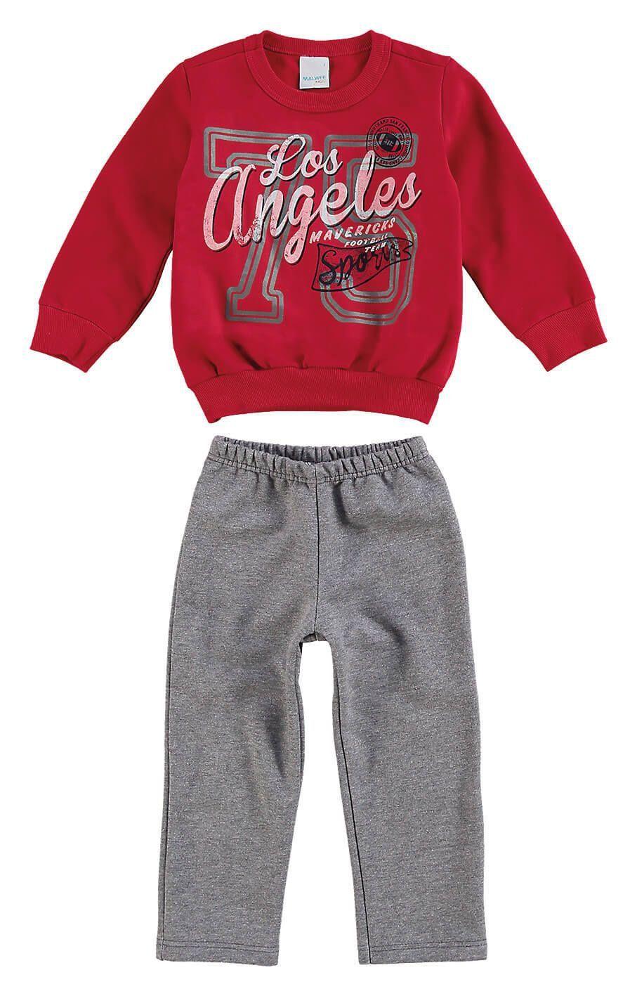 Conjunto Infantil Masculino Inverno Vermelho Los Angeles Malwee