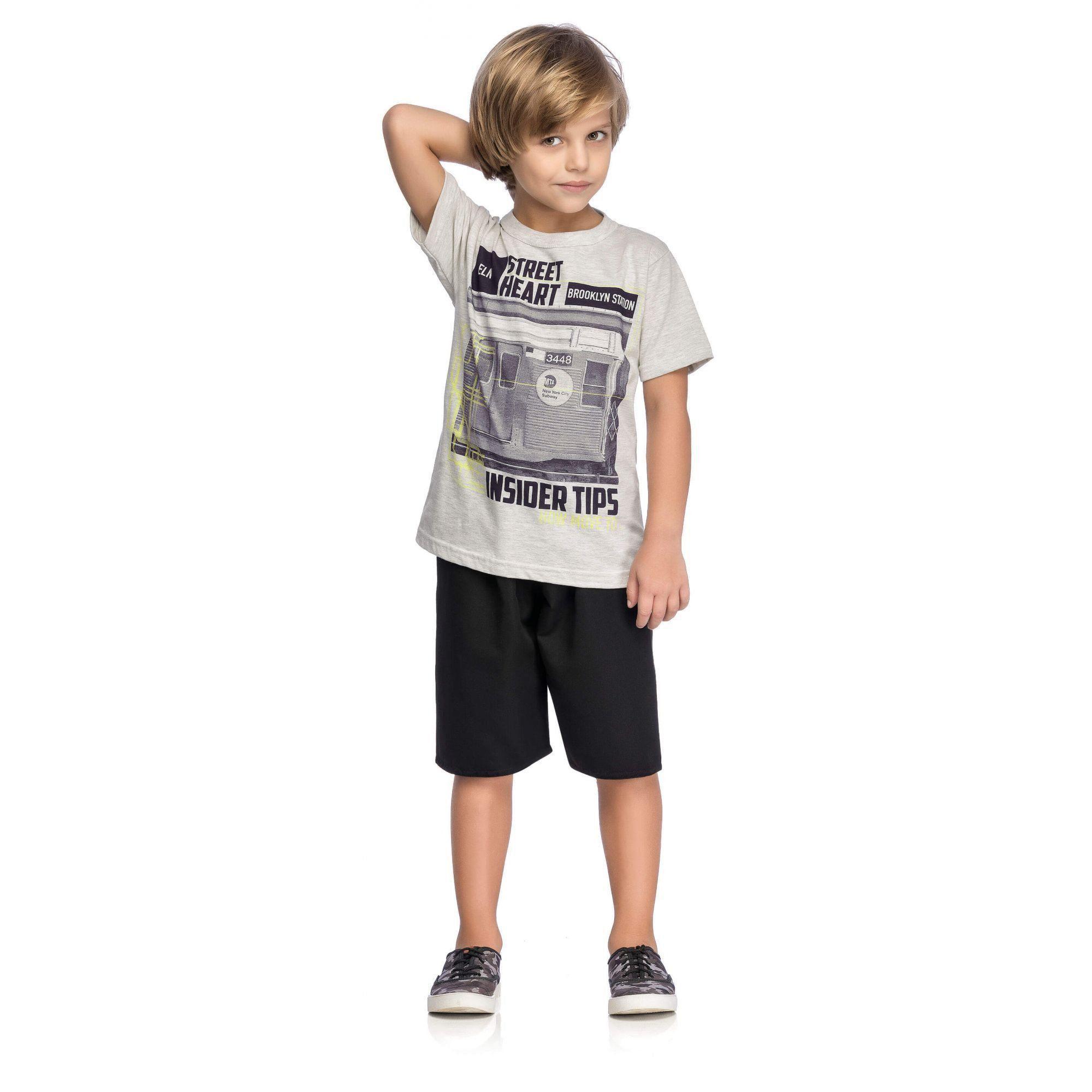 Conjunto Infantil Masculino Mescla OffWhite Street Elian