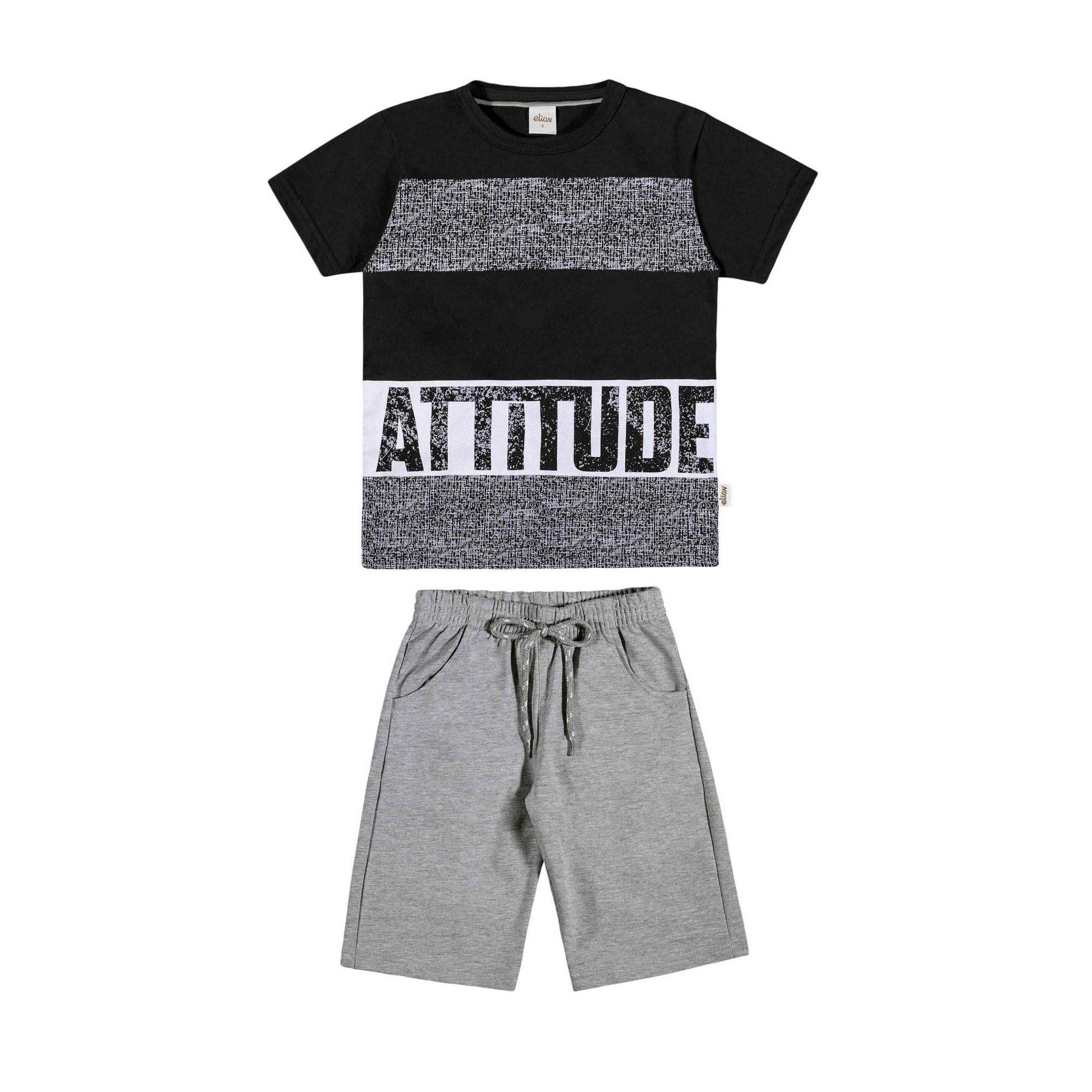Conjunto Infantil Masculino Preto Attitude Elian