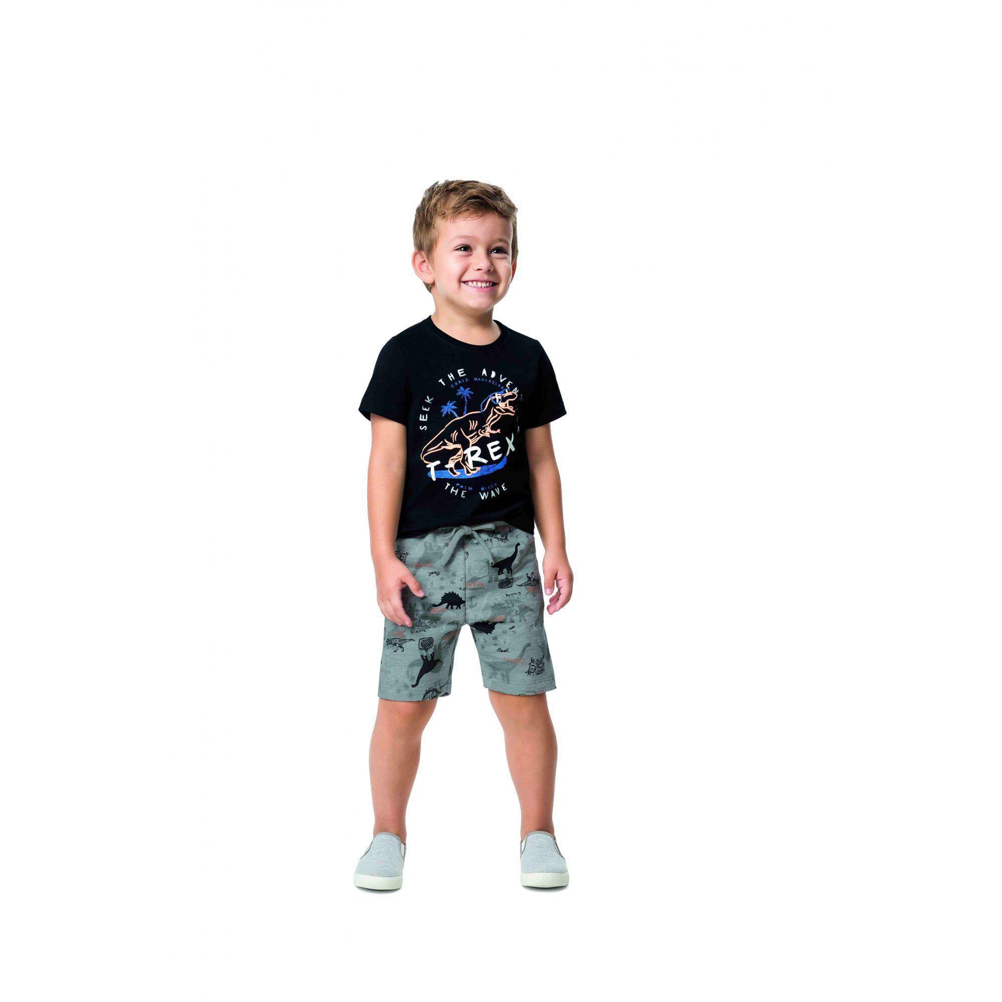 Conjunto Infantil Masculino Preto T-Rex Malwee