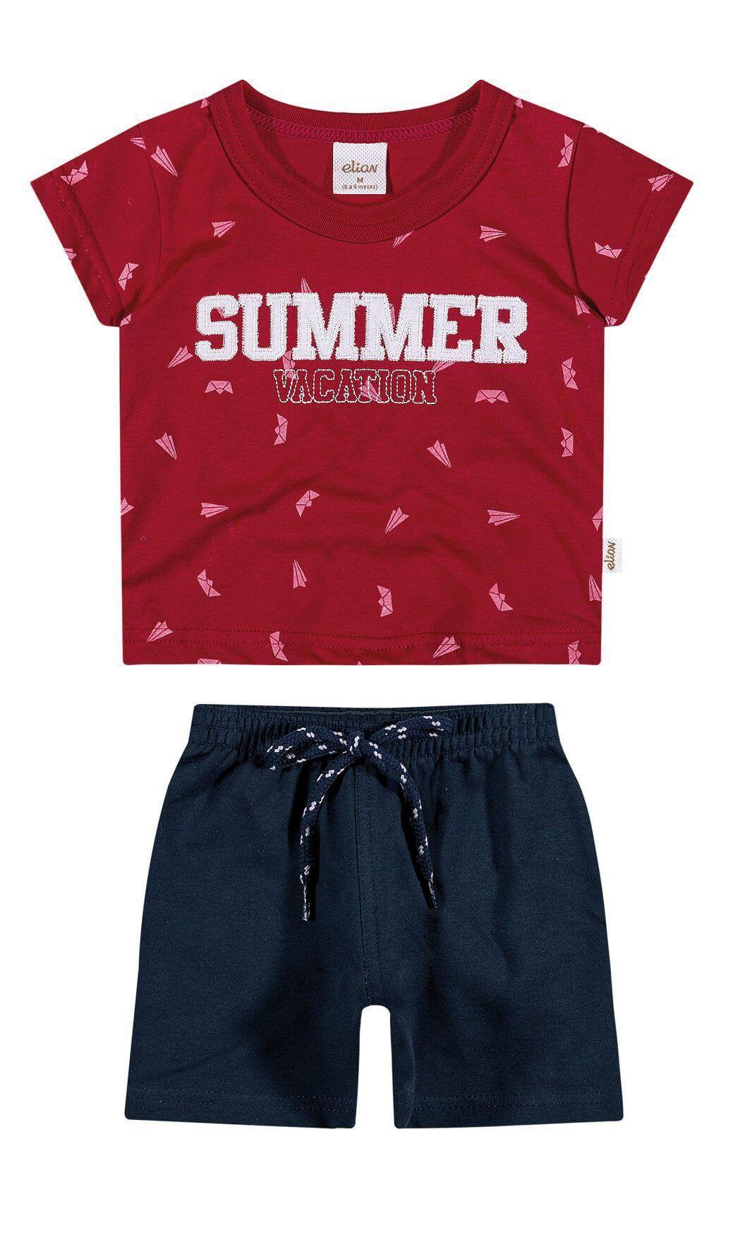 Conjunto Infantil Masculino Vermelho Summer Elian