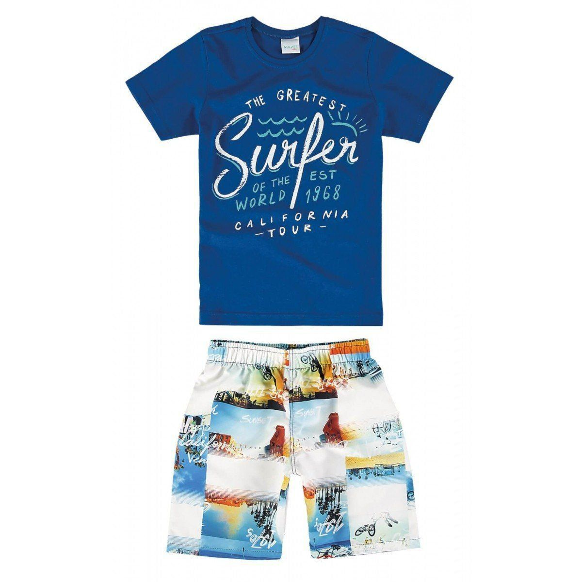 Conjunto Infantil Masculino Azul Royal Surfer Malwee