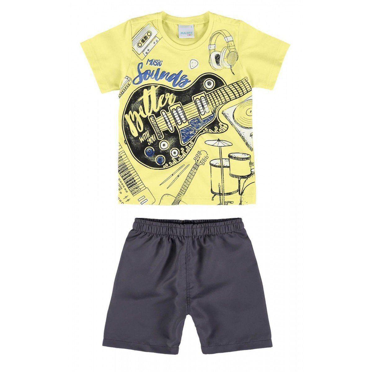 Conjunto Infantil Masculino Amarelo-Limão Music Sounds Malwee