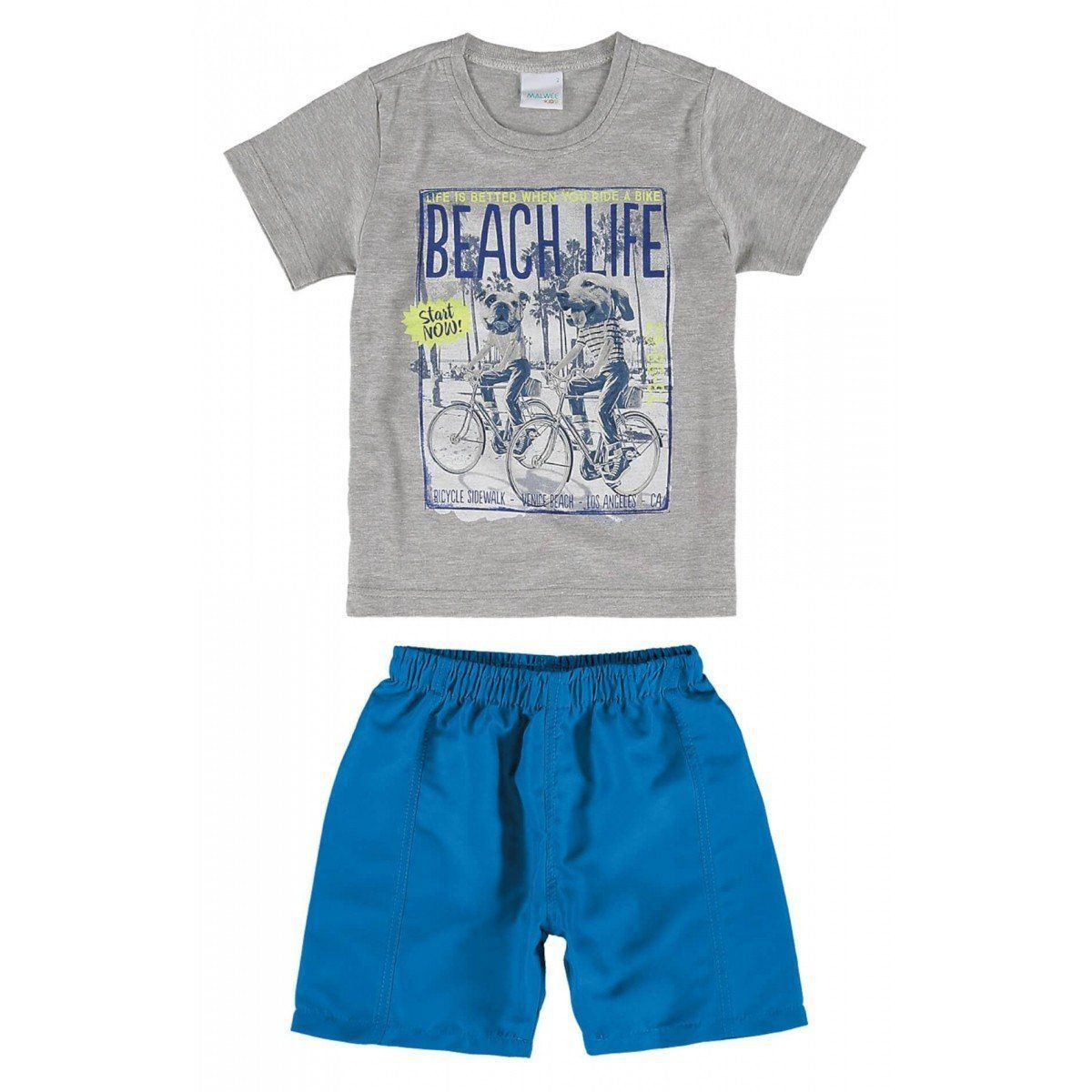 Conjunto Infantil Masculino Cinza Mescla Beach Life Malwee