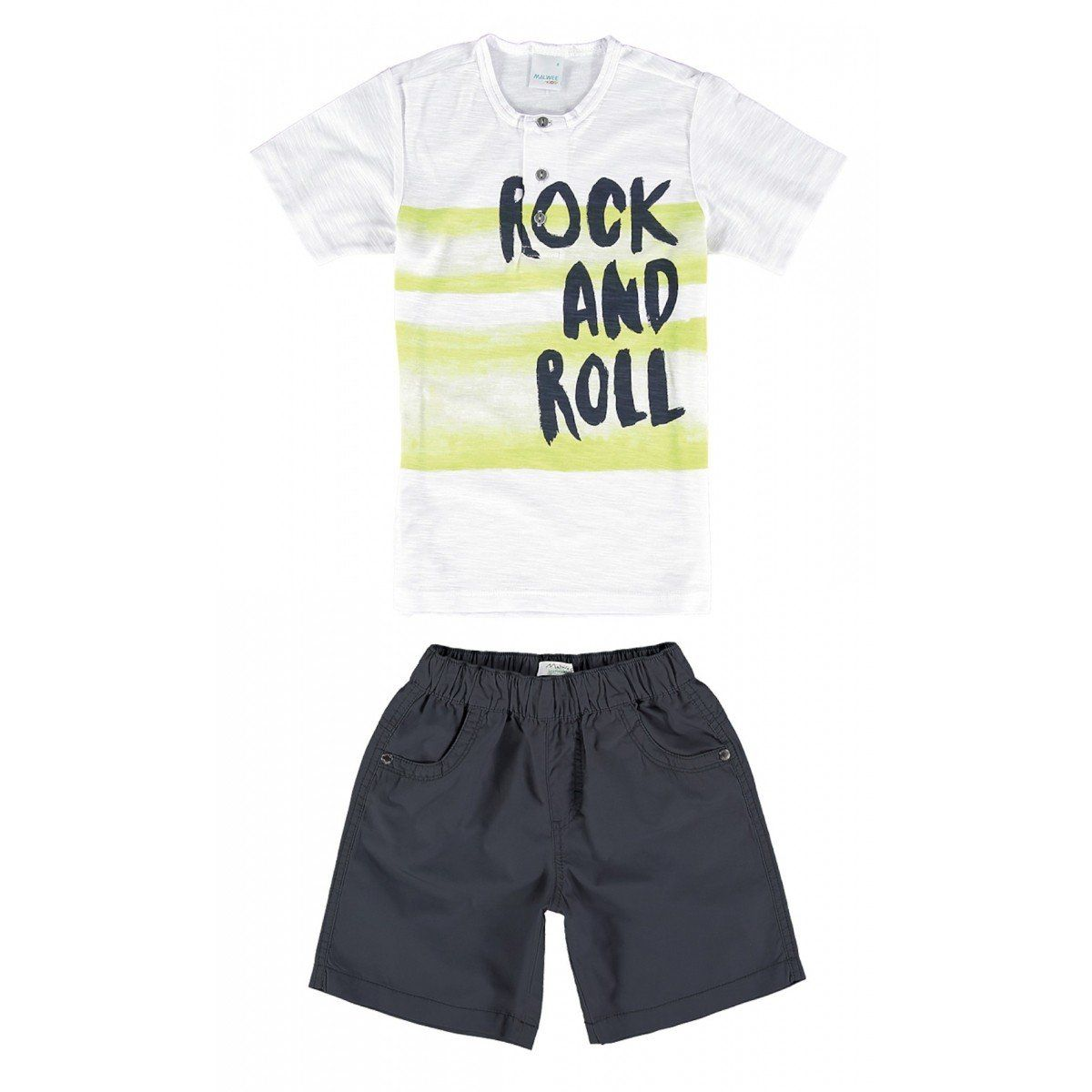 Conjunto Infantil Masculino Branco Rock And Roll Malwee