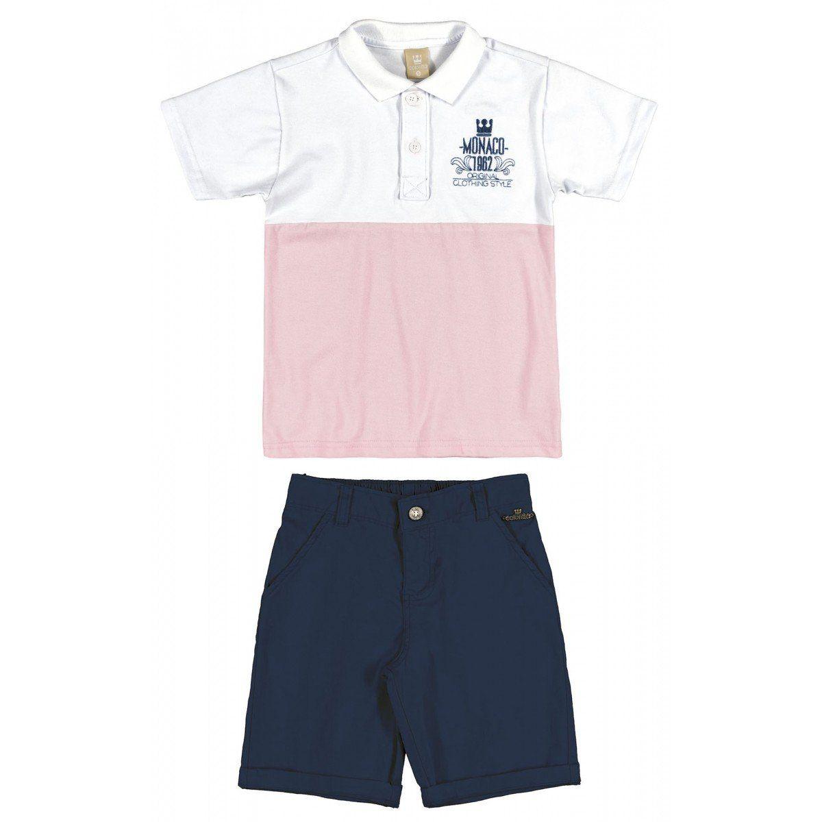 Conjunto Infantil Masculino Rosa Monaco Colorittá