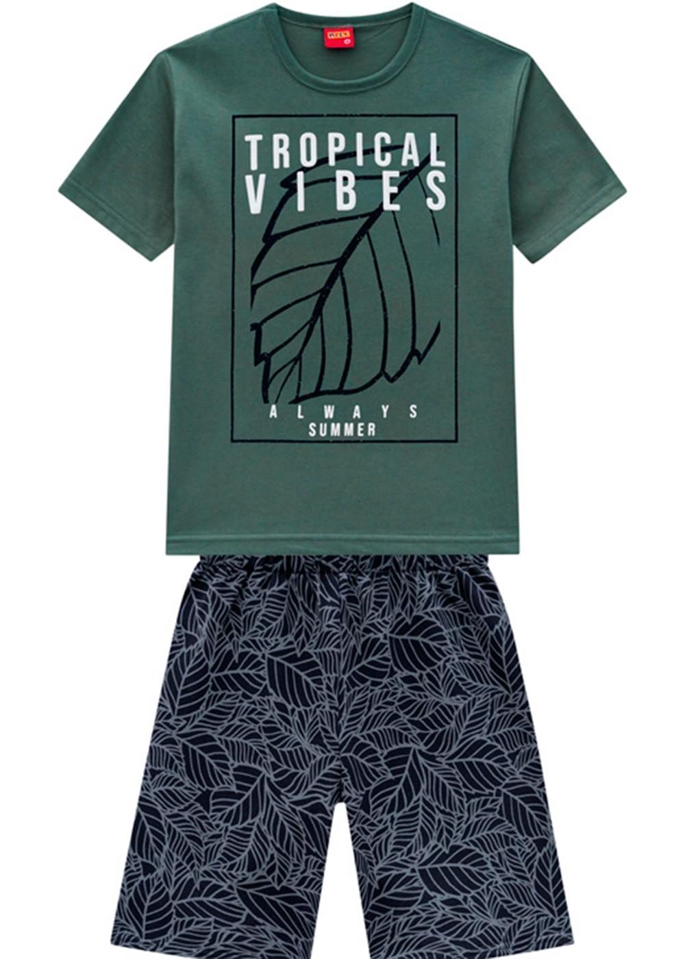Conjunto Infantil Masculino Short e Camiseta Verde Bambu – Kyly