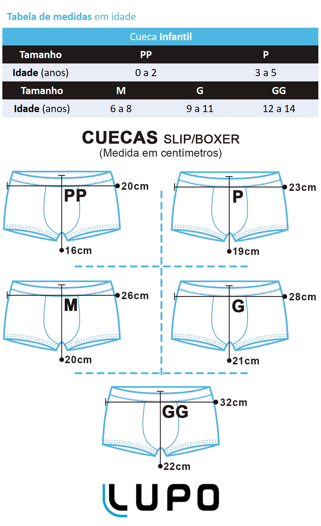 Cueca Ceroula Infantil Preta - Lupo: Tabela de medidas
