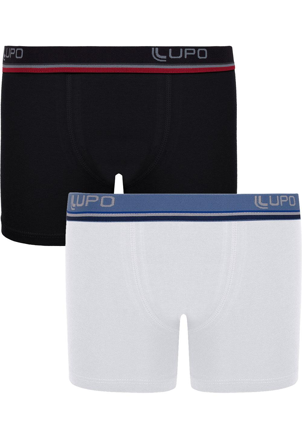 Cueca Infantil Boxer Kit com 2 cuecas Branca e Preta - Lupo