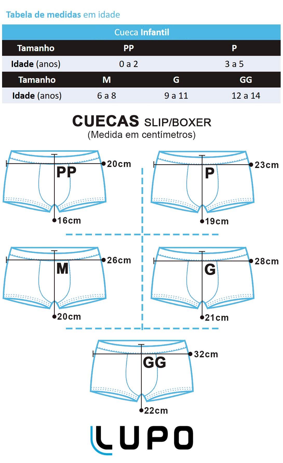 Cueca Infantil Boxer Kit com 2 cuecas Branca e Preta - Lupo: Tabela de medidas