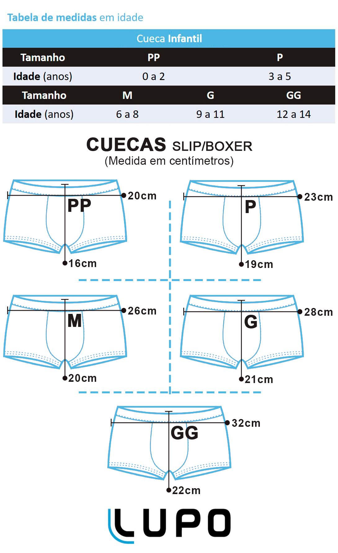 Cueca Infantil Boxer Kit 2 Preta Lupo: Tabela de medidas