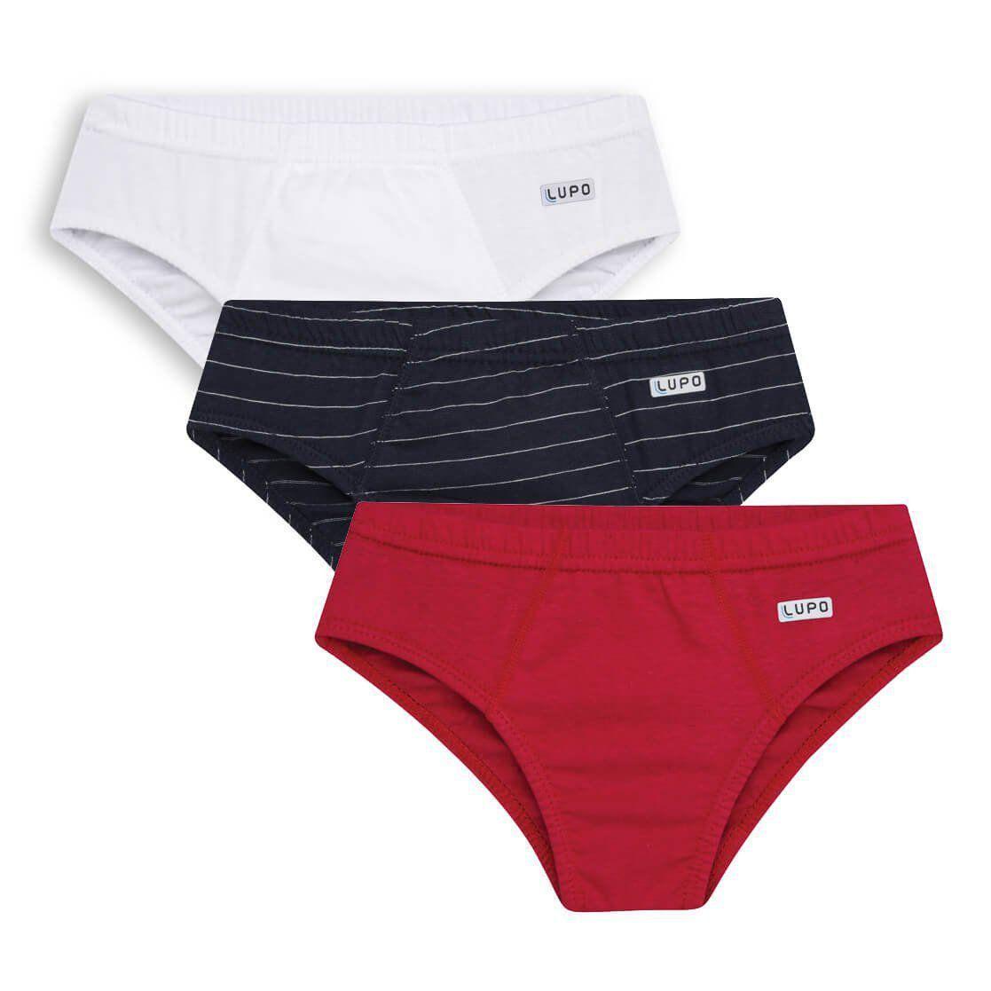 Cueca Infantil Slip Kit 3 cuecas Vermelha Lupo