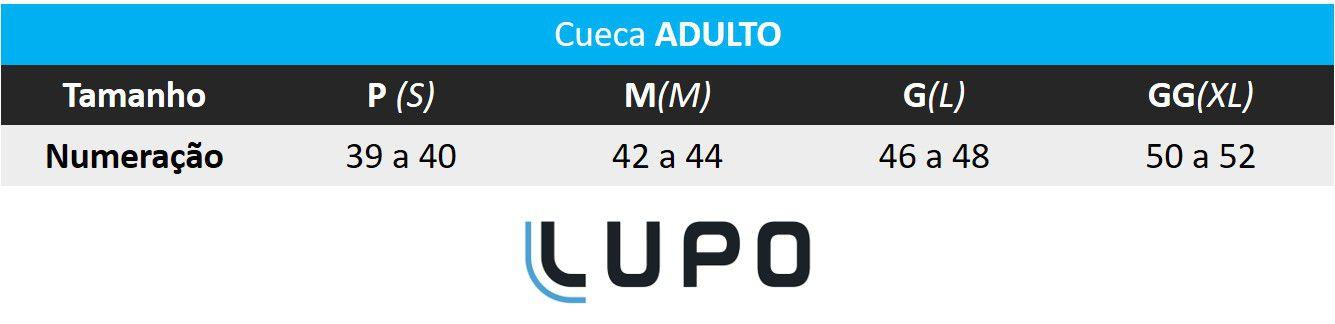 Cueca Samba-Canção ADULTO Mario Bros Amarela - Lupo: Tabela de medidas