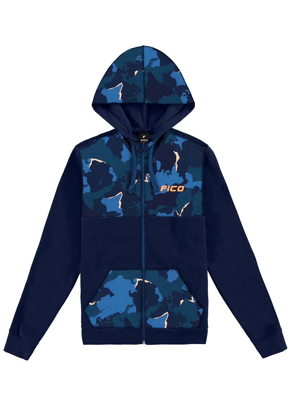 Jaqueta Infantil Masculina Inverno Azul Camuflada Fico