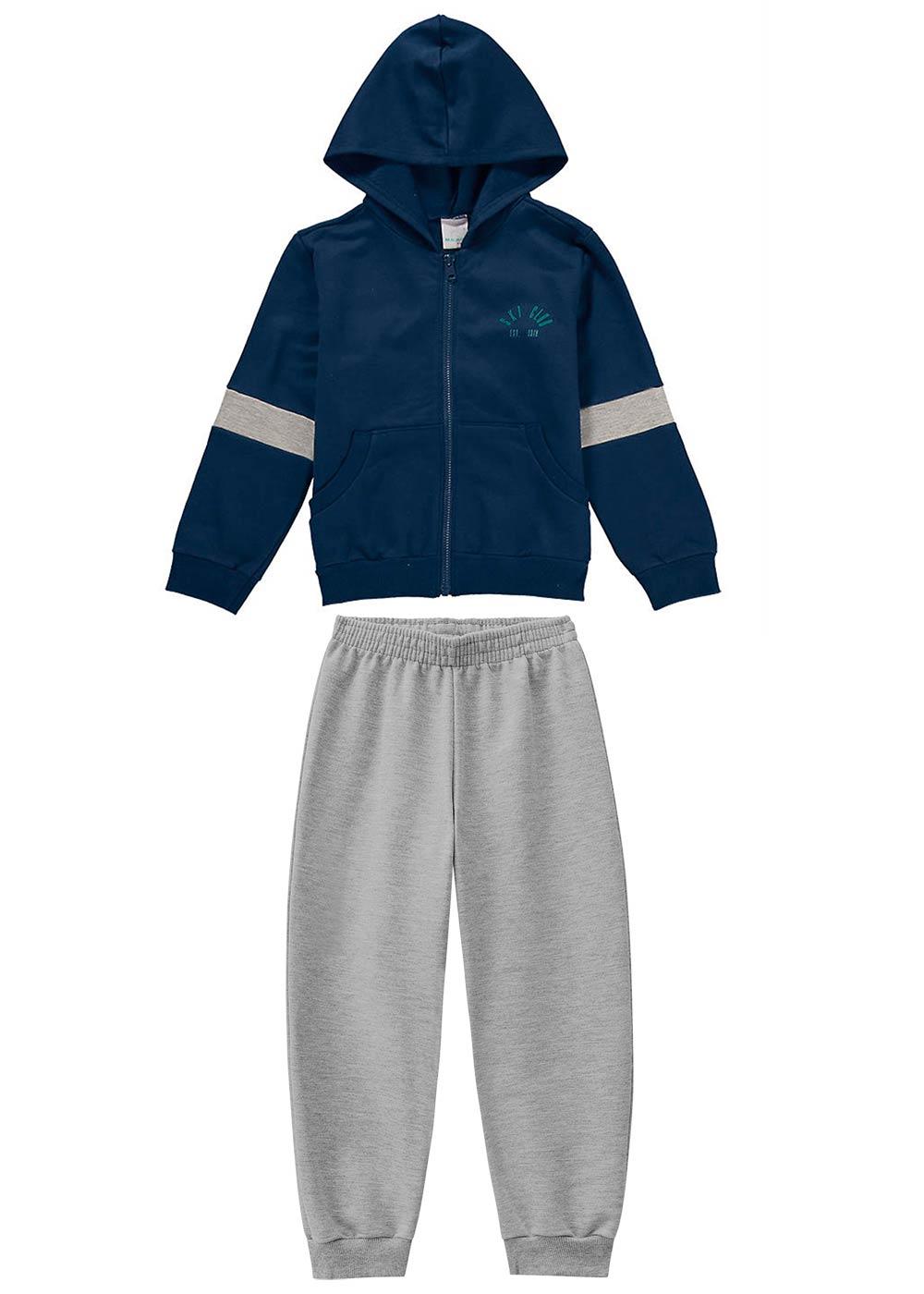 Conjunto Jaqueta e Calça Masculino Infantil Azul Malwee
