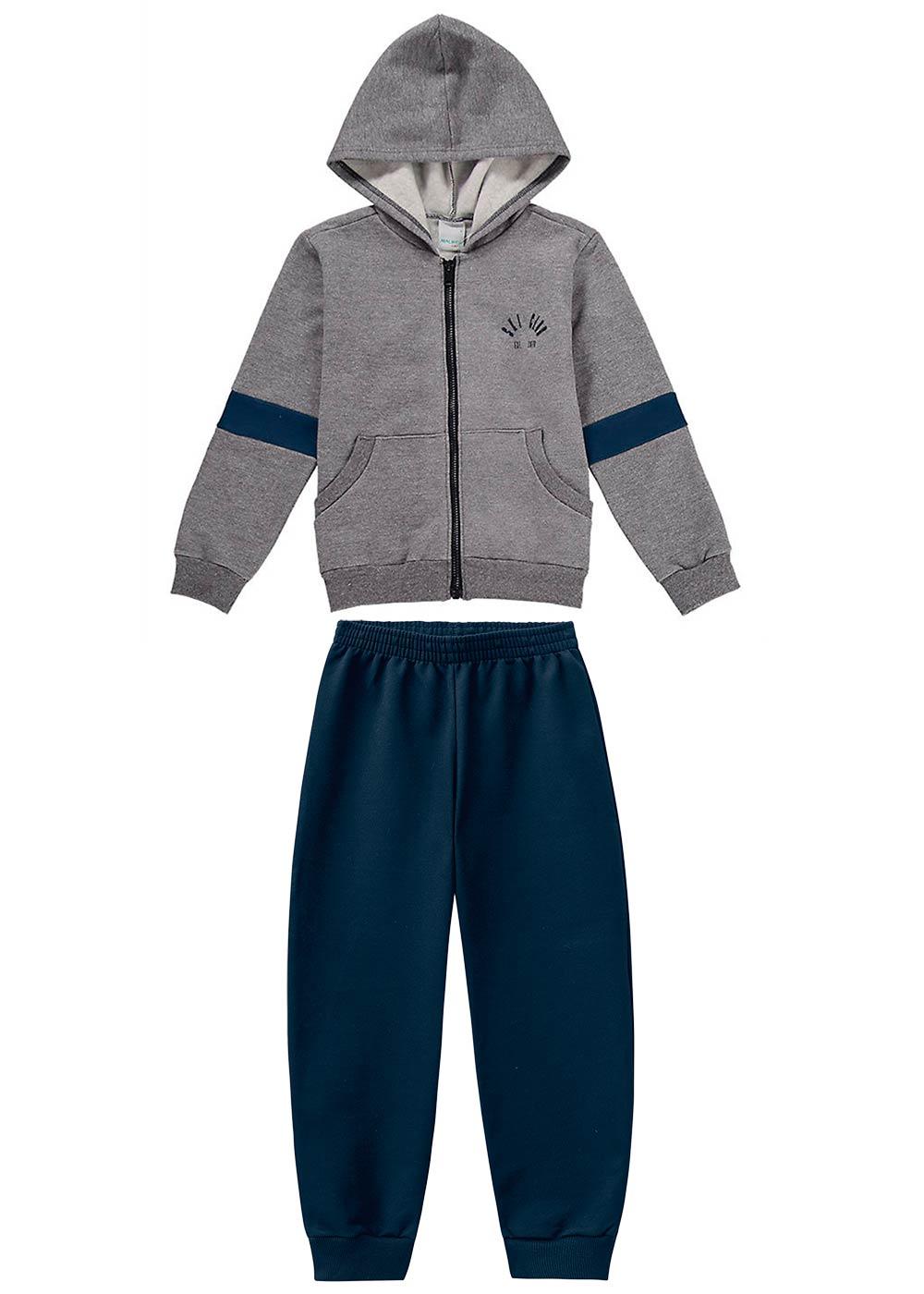 Conjunto Jaqueta e Calça Masculino Infantil Cinza Malwee