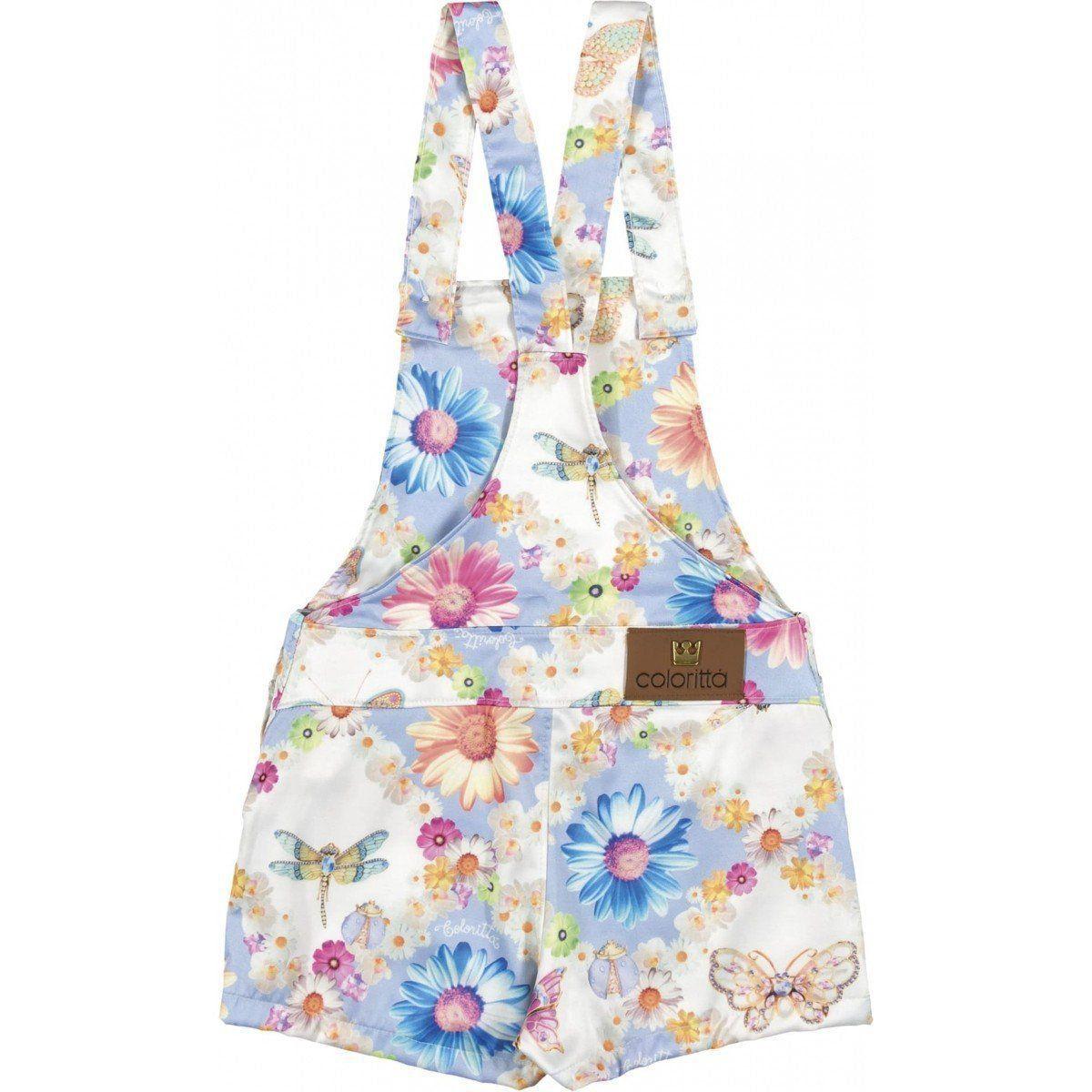 Jardineira Infantil Floral Colorittá