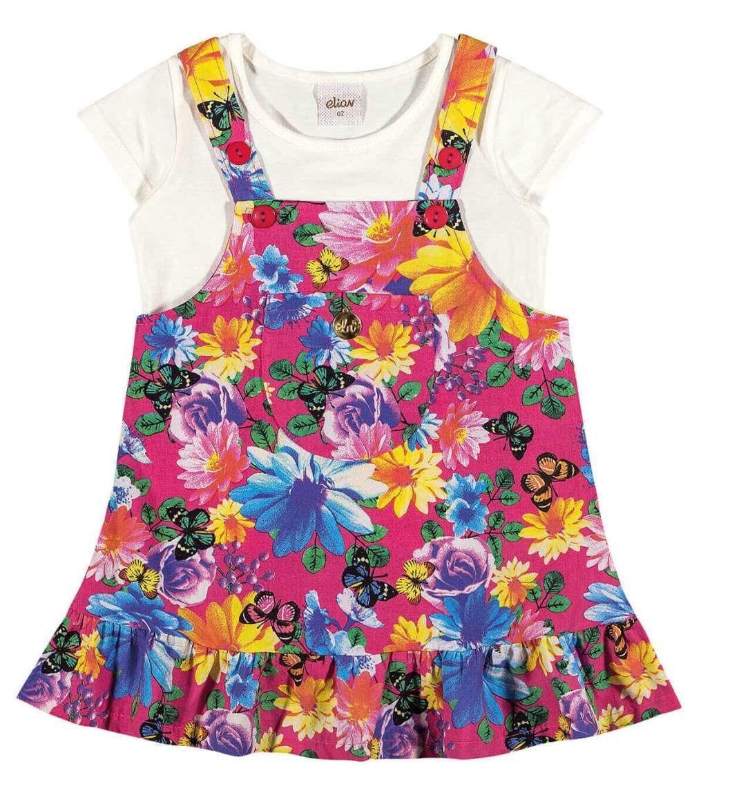 Jardineira Infantil Rosa Flores Elian