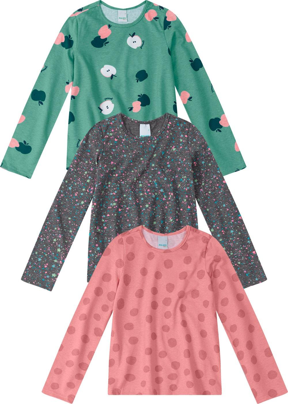 Kit 3 Blusas Infantil Feminina Estampadas Inverno Malwee