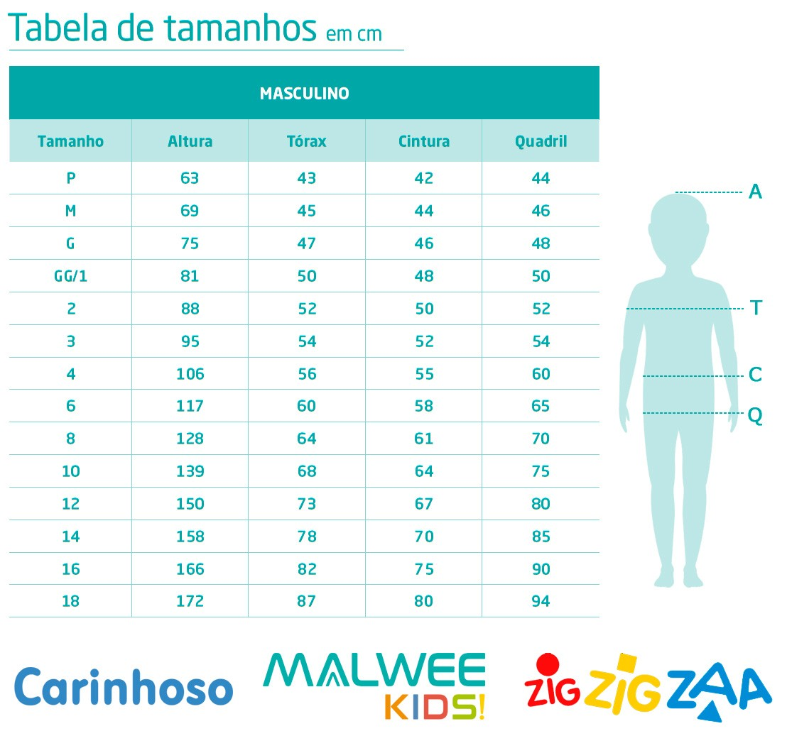 Kit 3 Camisetas Infantil Estampadas Inverno Malwee: Tabela de medidas