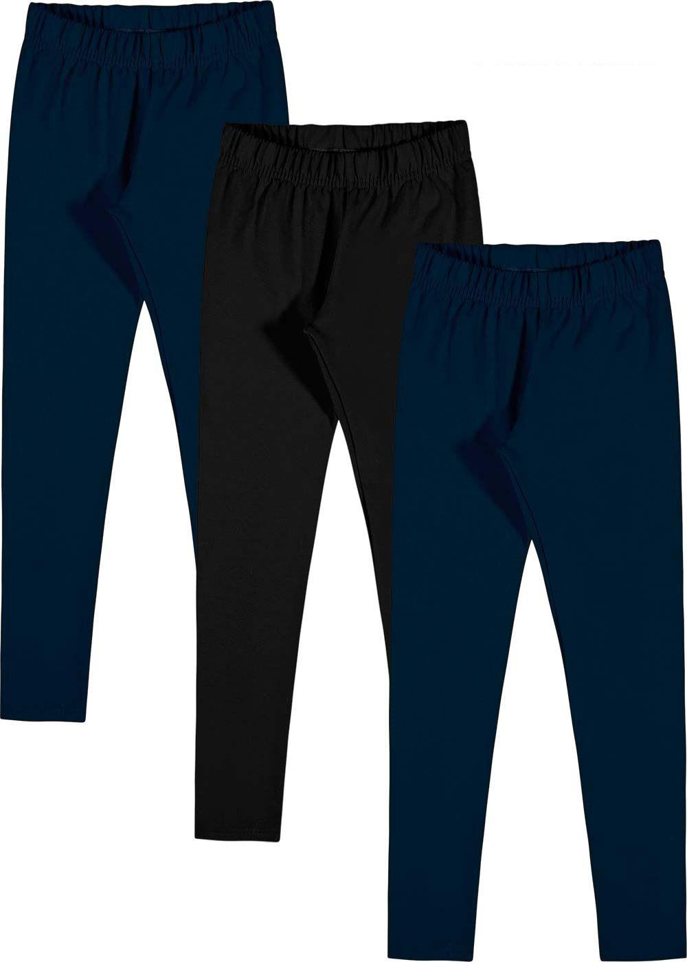 Kit 3 Legging Infantil SEM Flanela Preta e Azul Malwee