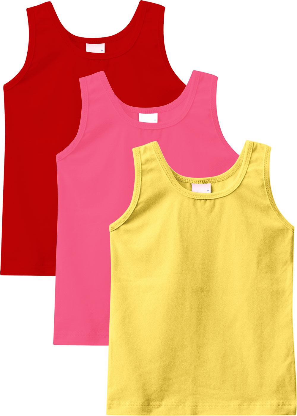 Kit 3 Regatas Infantis Femininas Amarelo, Rosa e Vermelho - Malwee