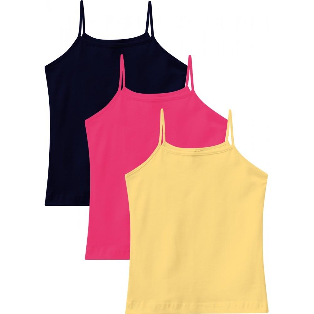 Kit 3 Regatas Infantis Femininas Rosa, Azul e Amarelo - Malwee