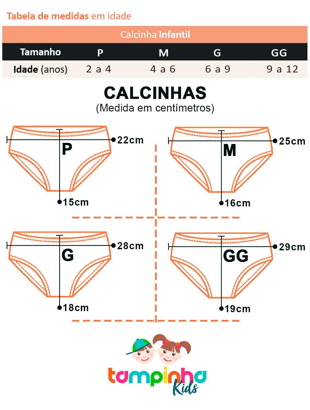 Kit 6 Calcinha Infantil Caleçon com Elastano Tampinha