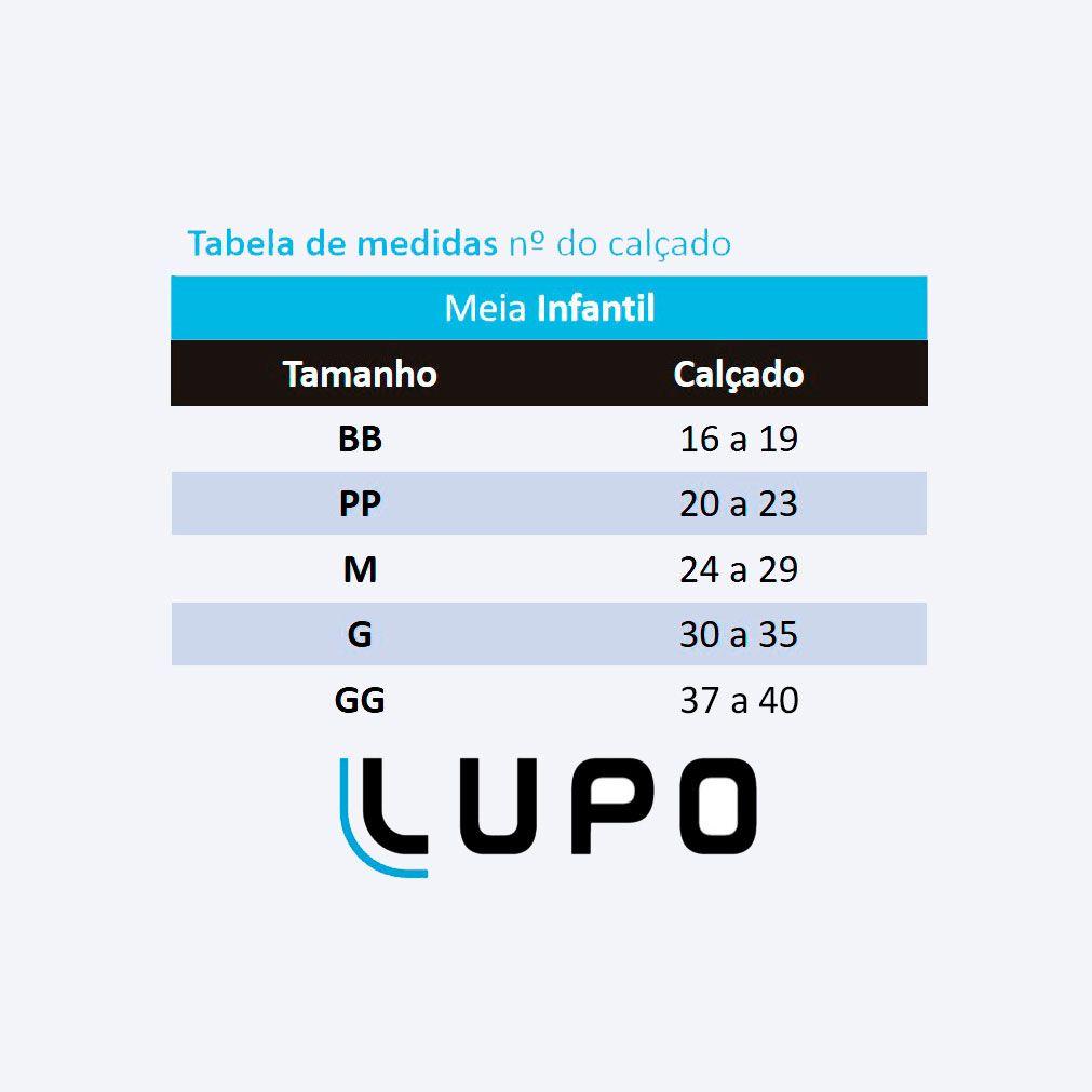 Meia Lupo com Cano Médio Kit 9 Pares Branca: Tabela de medidas