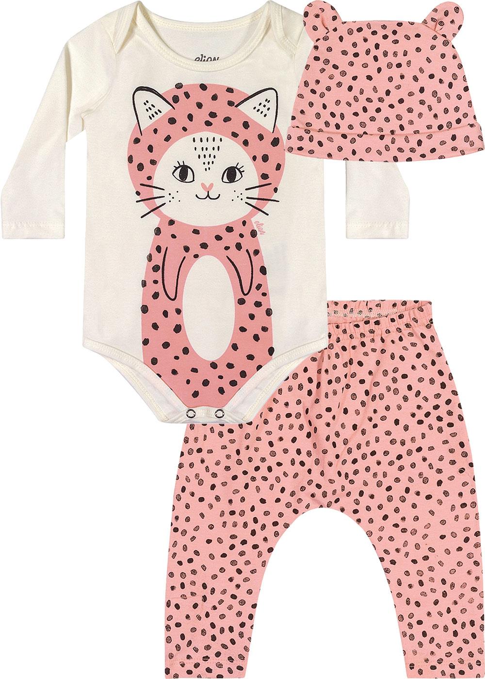Kit Body Infantil Feminino Inverno Offwhite Little Cat - Elian