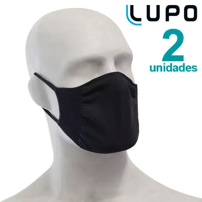 Kit com 2 Máscaras de Proteção Adulto Preta Lupo Virus-Bac OFF