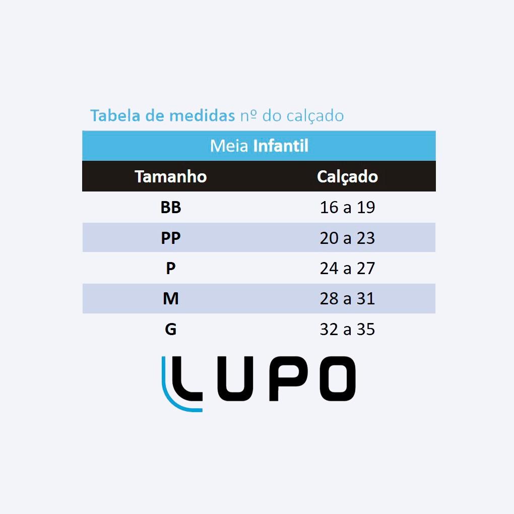 Kit com 3 Meia Infantil Feminina Dog Lupo: Tabela de medidas