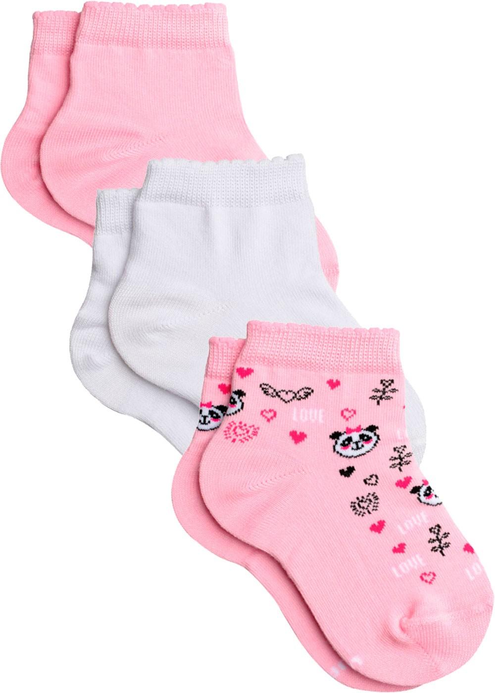 Kit com 3 Meia Infantil Feminina Panda Lupo