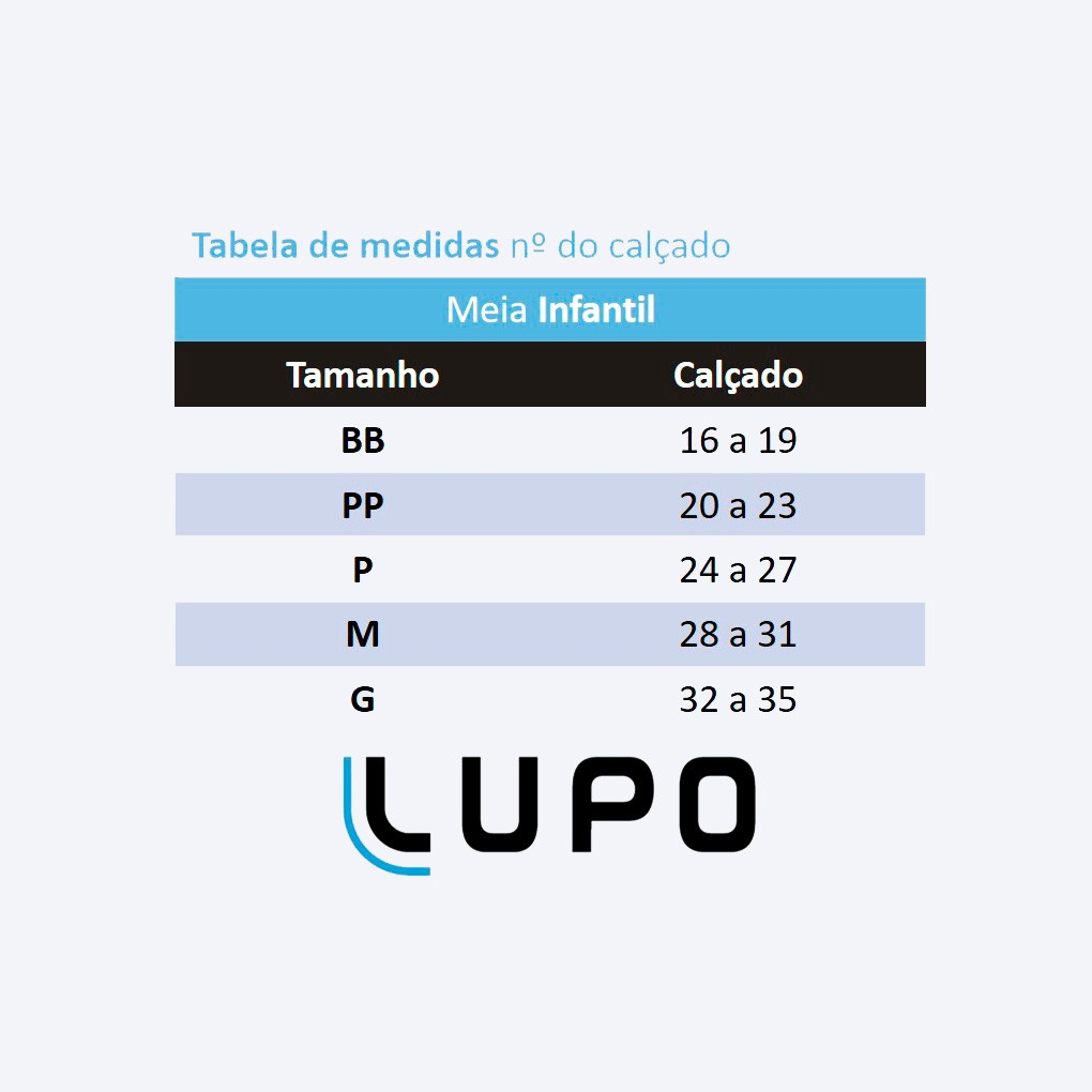 Kit com 3 Meia Infantil Masculina Lagarto Lupo: Tabela de medidas