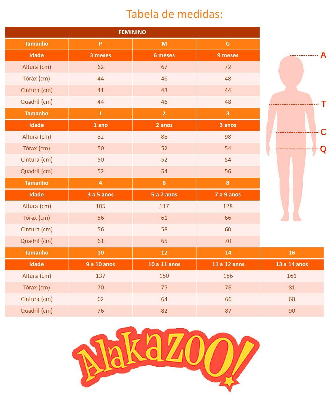 Legging Infantil Feminina Inverno Preta Cirrê Alakazoo: Tabela de medidas