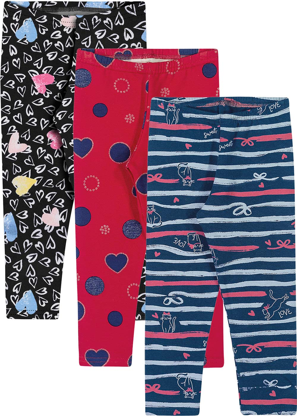 Legging Infantil Feminino Kit 3 Inverno Cinza Hearts - Elian