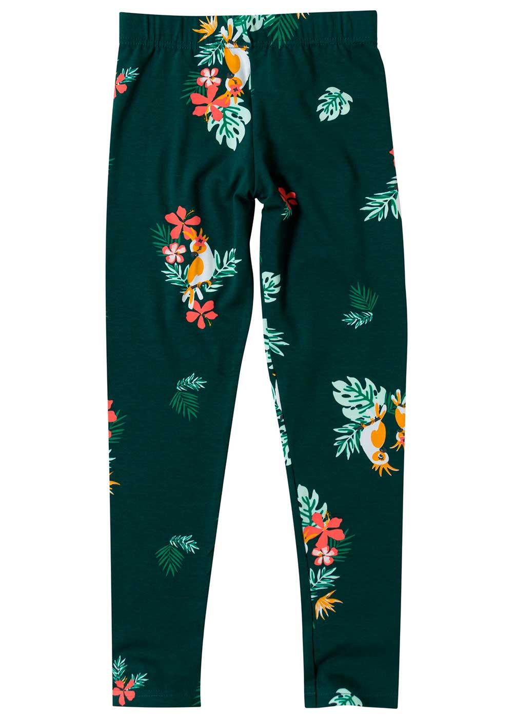 Legging Infantil Verde Flores - Malwee