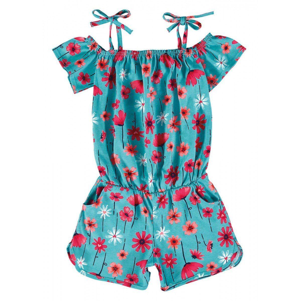 Macaquinho Infantil Azul Flores Malwee