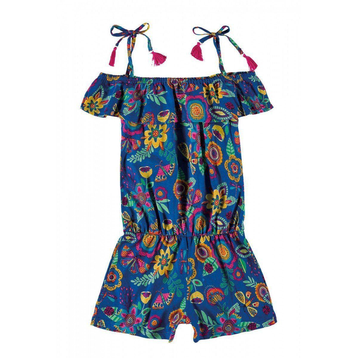Macaquinho Infantil Azul Flores e Borboletas Zig Zig Zaa