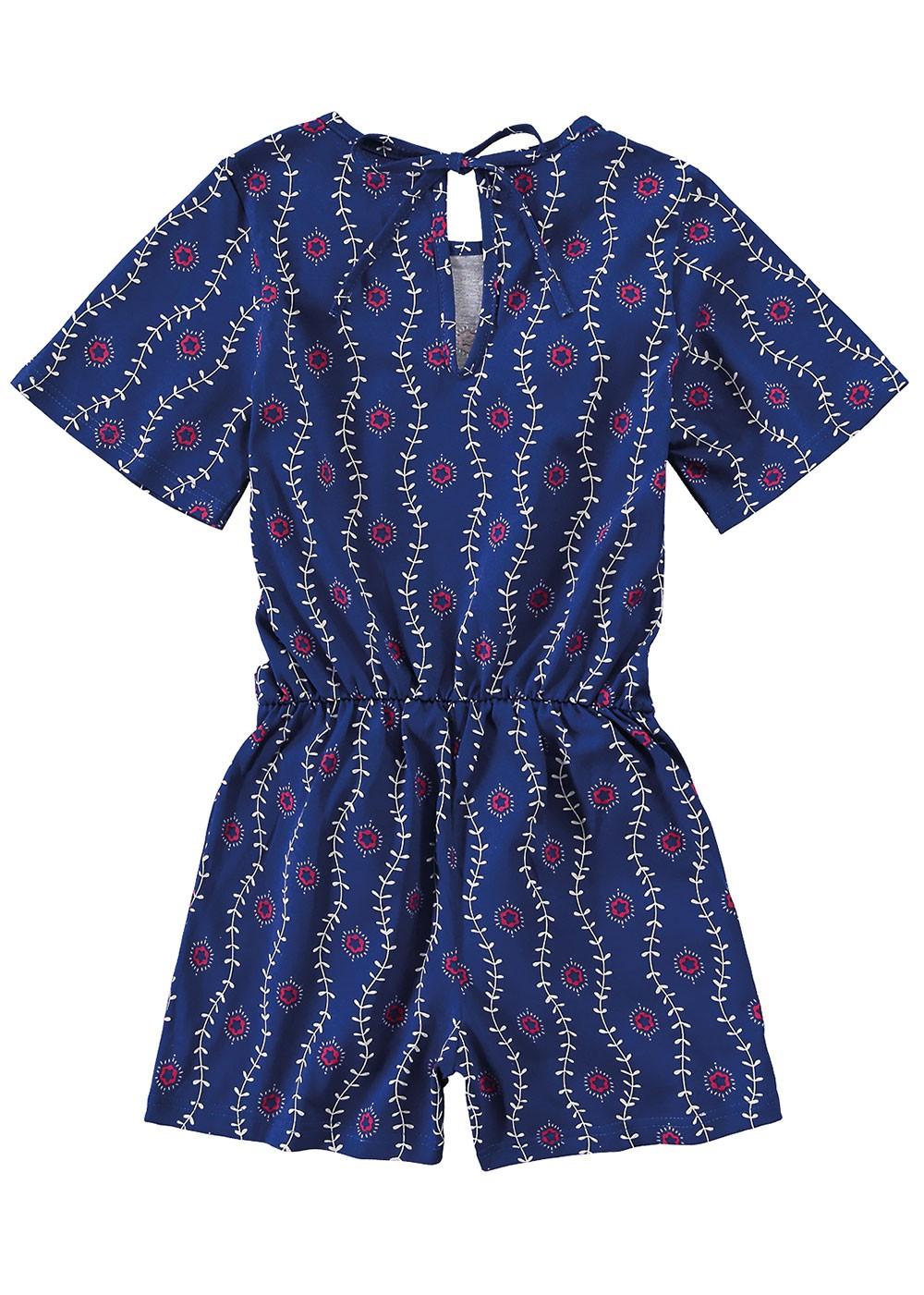 Macaquinho Infantil Verão Azul Floral Malwee