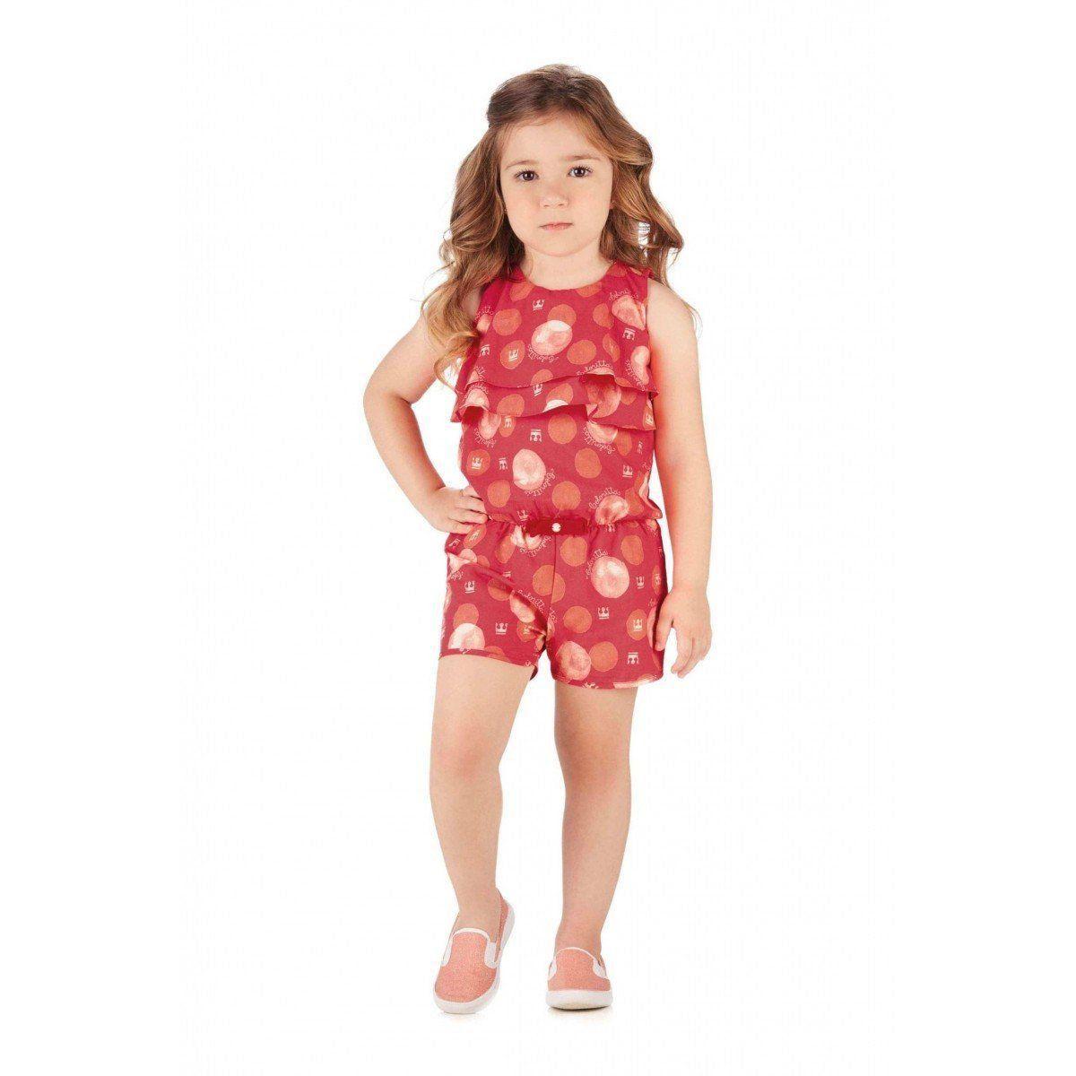 Macaquinho Infantil Vermelho Bolas Colorittá