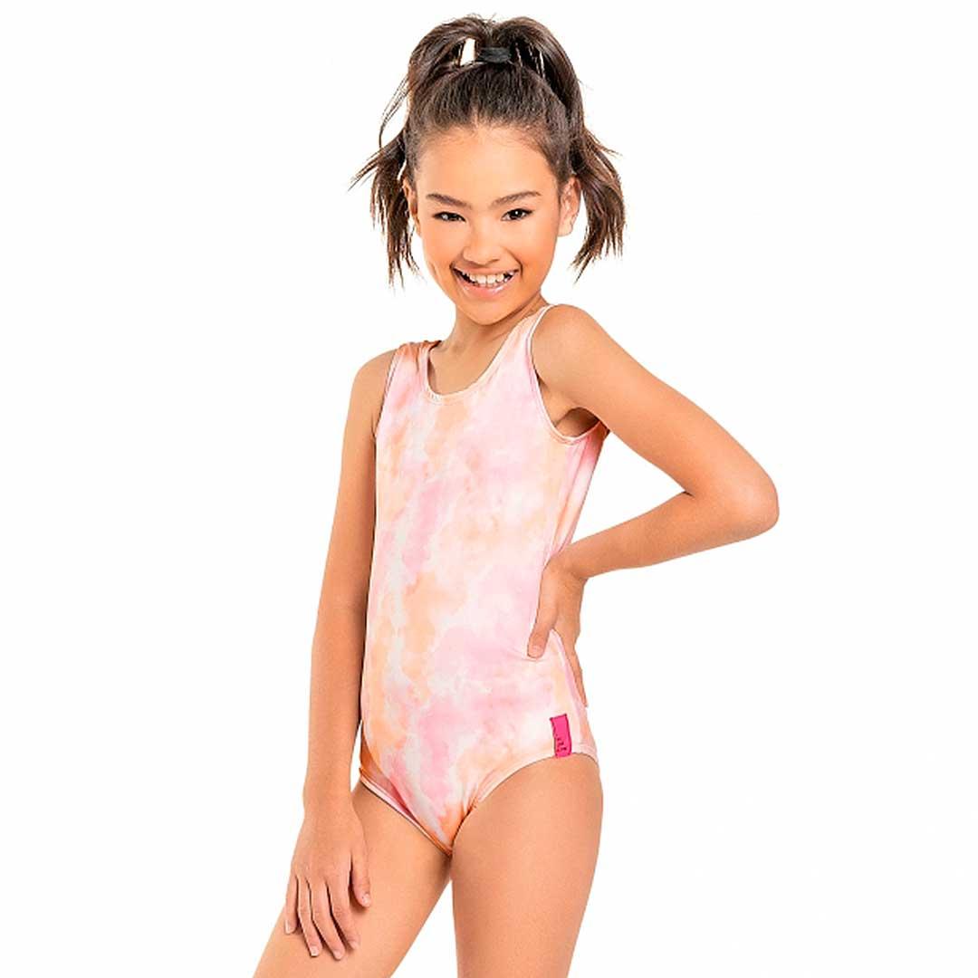 Maiô com Proteção UV Infantil Rosa Tie Dye - Quimby