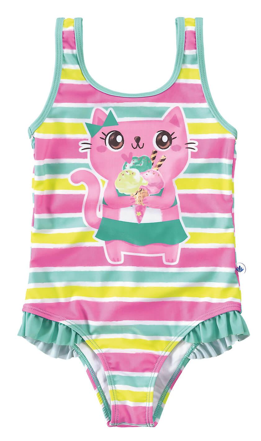 Maio Feminino Infantil Verão Azul Cat Malwee