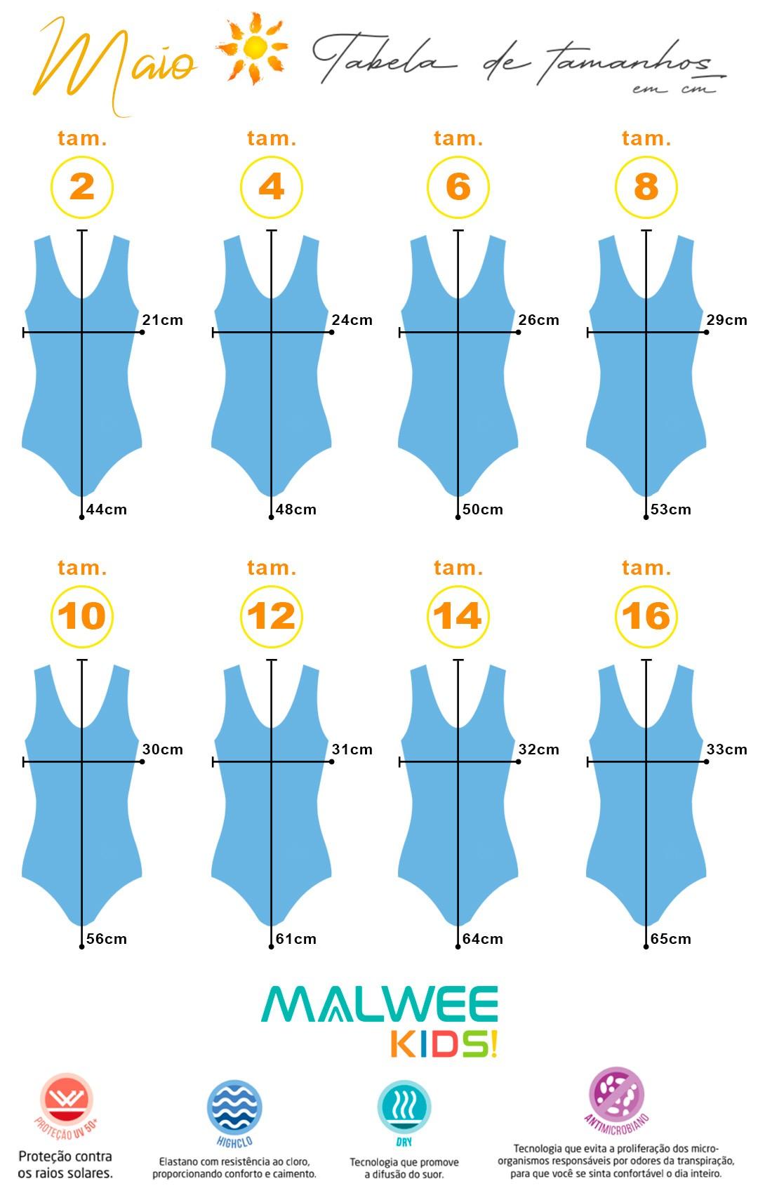 Maiô Infantil Natação Azul Ocean Malwee: Tabela de medidas