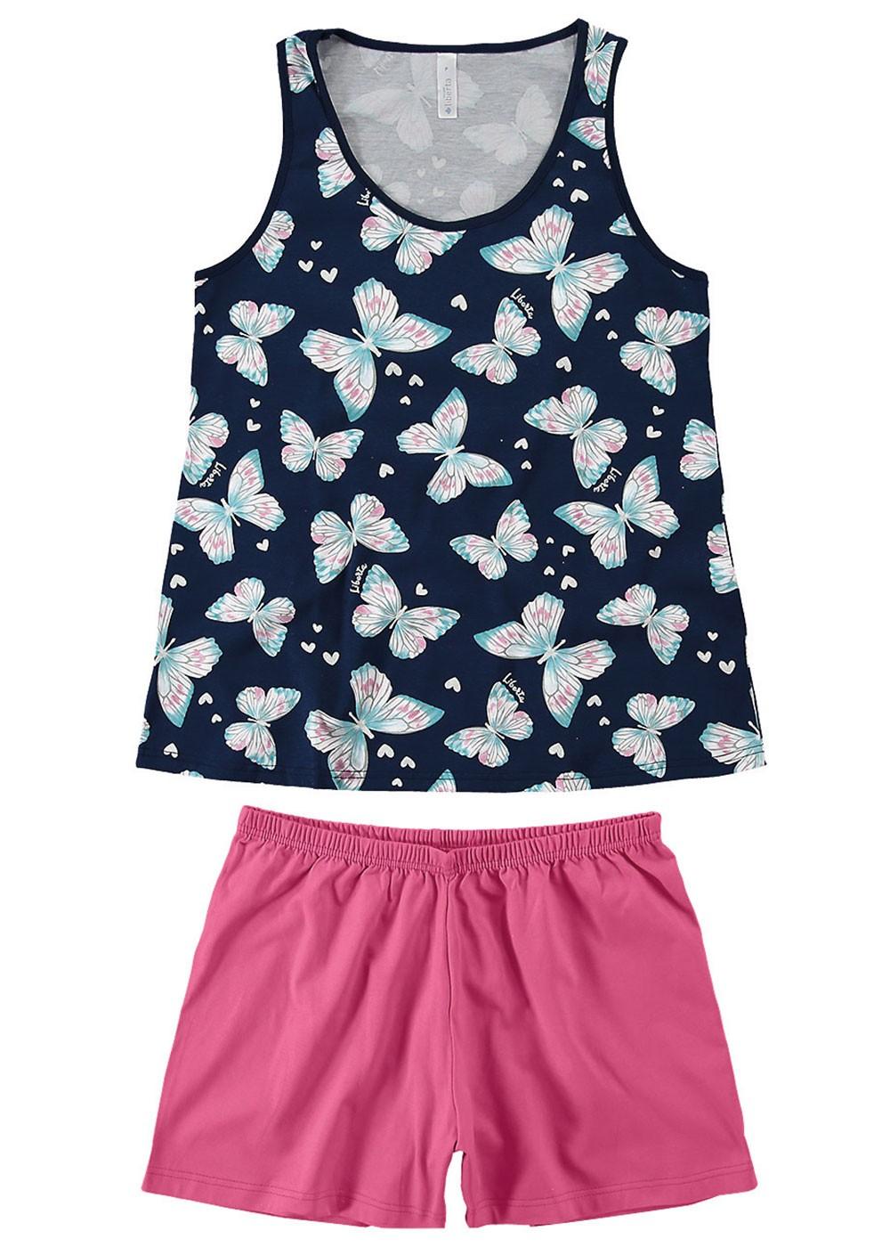 Pijama Feminino Mãe e Filha Short e Regata Azul Marinho Estampa Borboleta - Malwee
