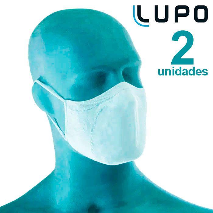 Kit com 2 Máscaras de Proteção Adulto Branca Lupo Virus-Bac OFF