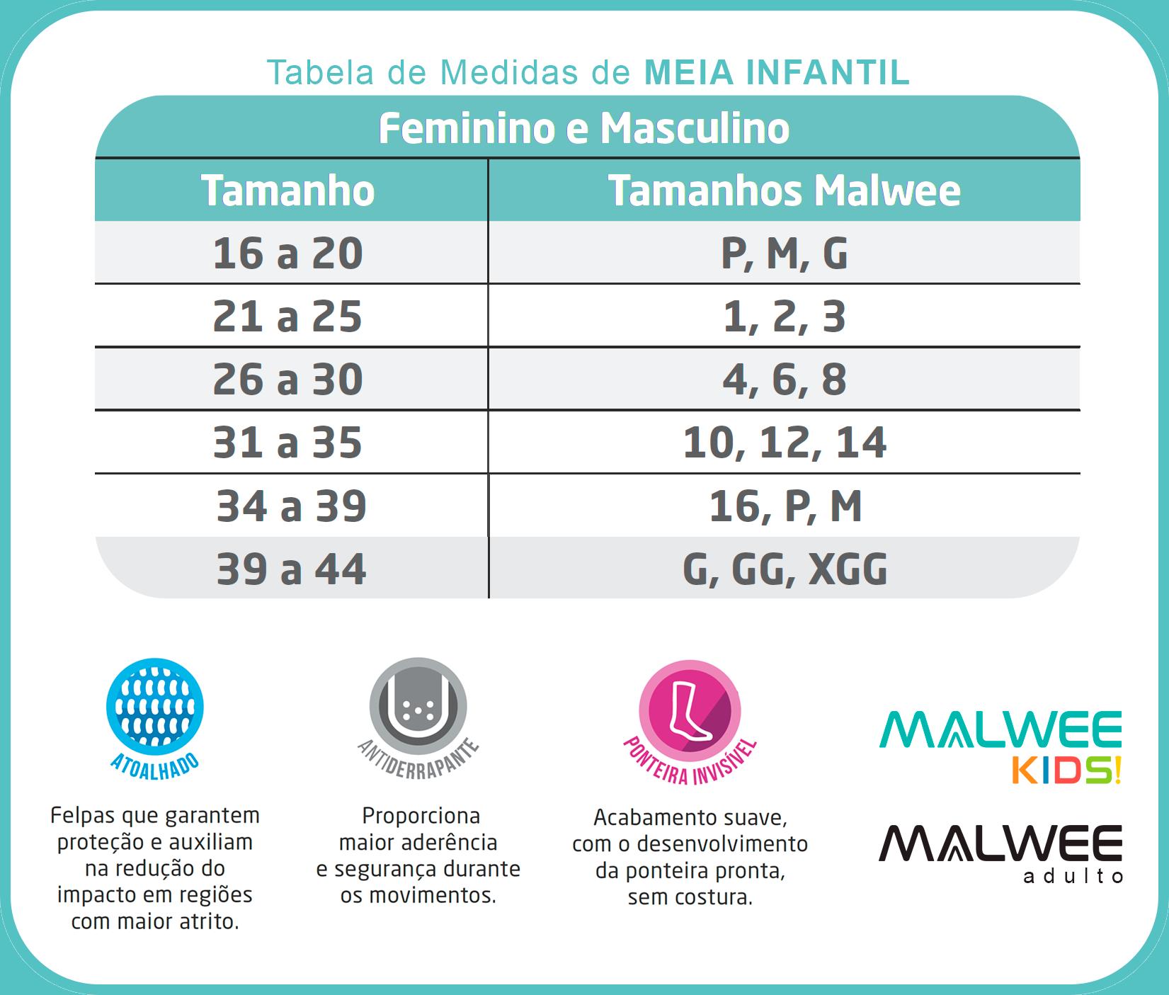 Meia Antiderrapante Infantil Azul Cano Alto Feminina Hearts - Malwee: Tabela de medidas