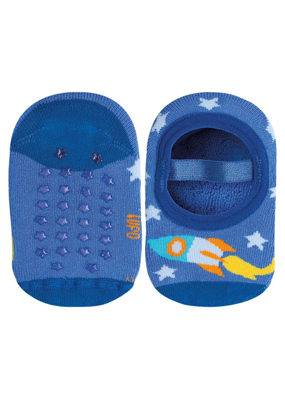 Meia Antiderrapante Infantil Azul Foguete Lupo