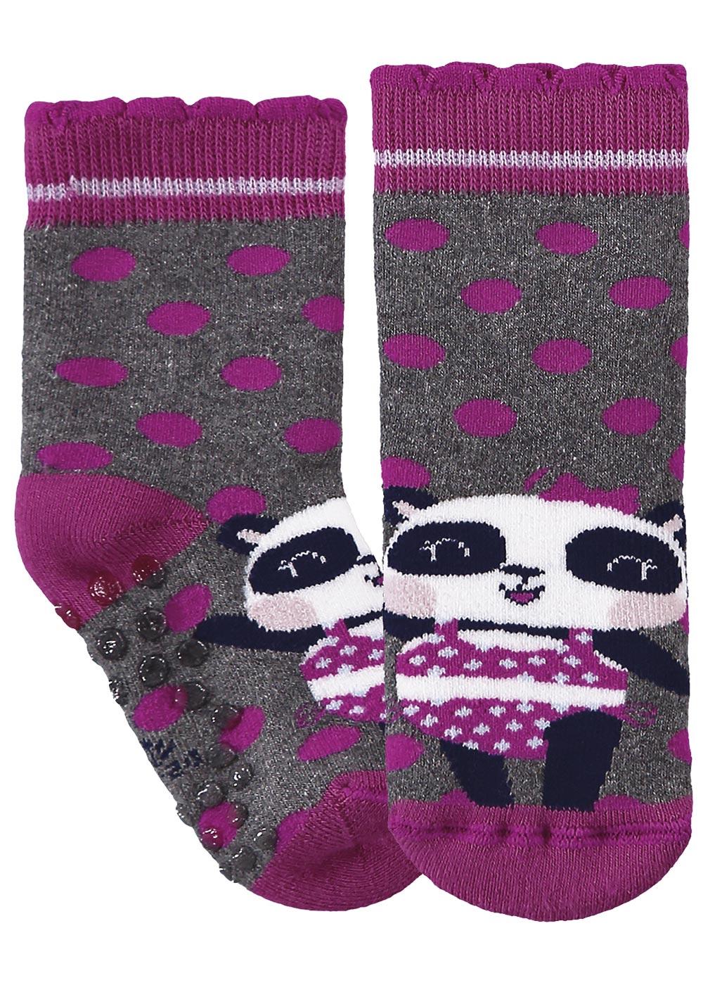 Meia Antiderrapante Infantil Cinza Cano Alto Feminina Panda - Malwee