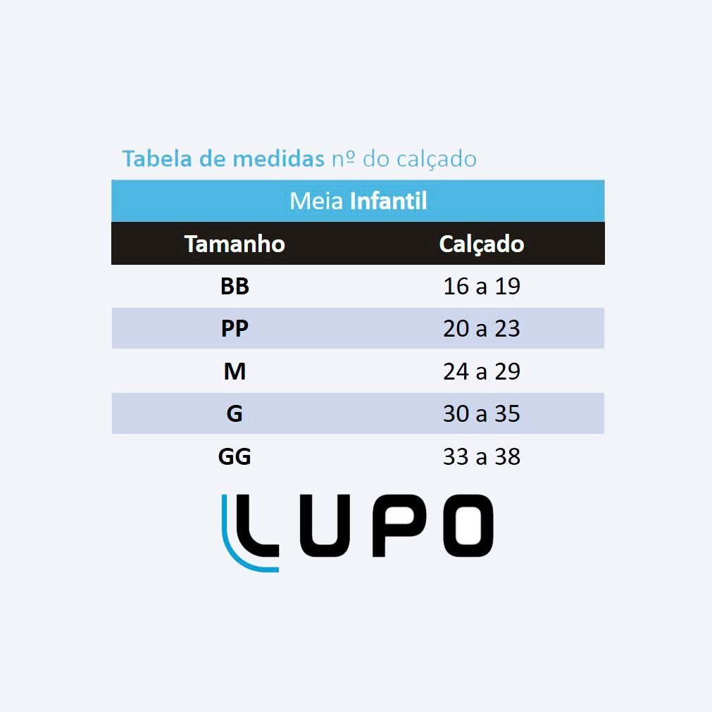 Meia Antiderrapante Infantil Preto e Azul Foguete Lupo: Tabela de medidas